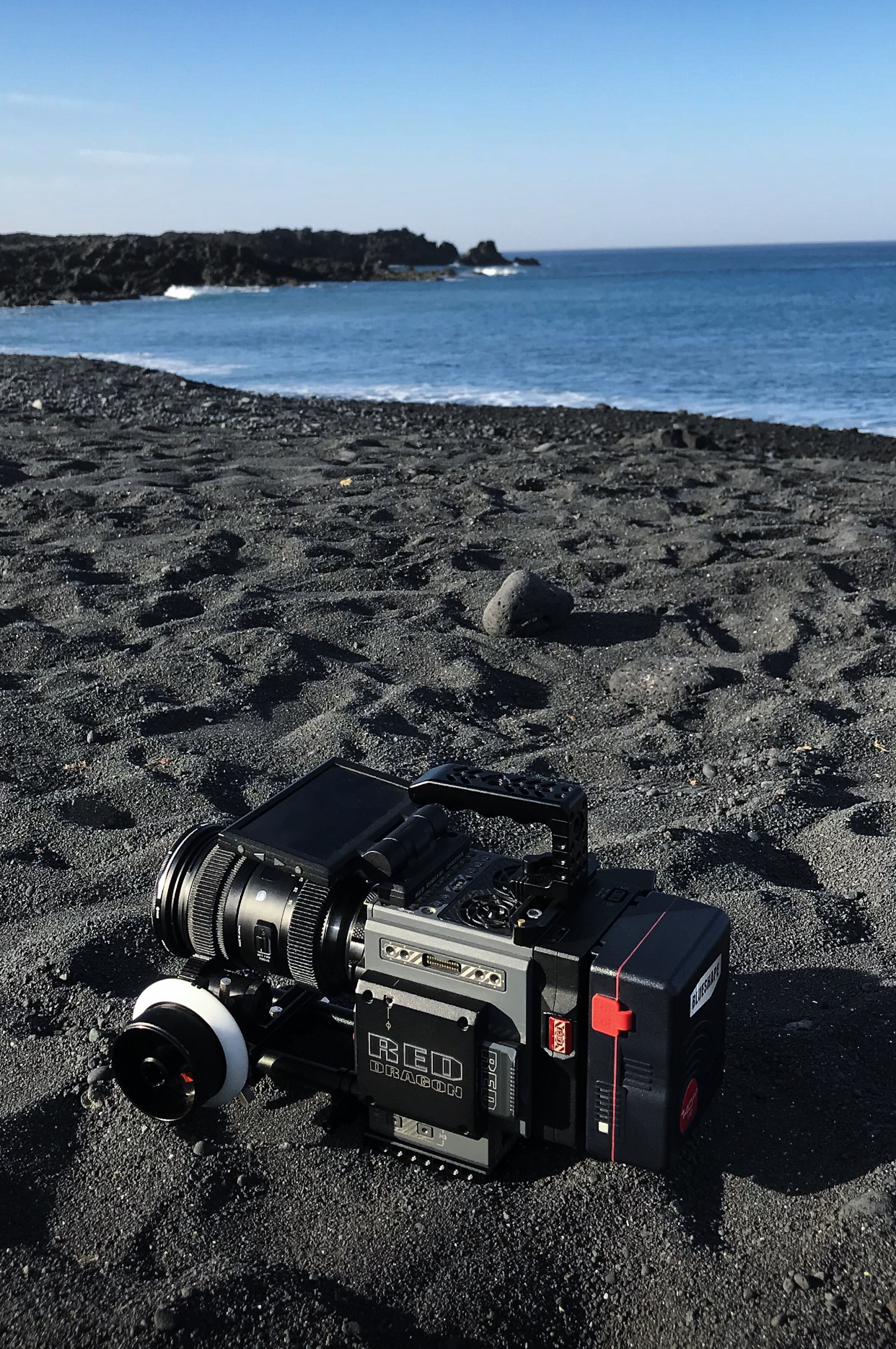 Red Scarlet-w camera on the beach in Lanzarote